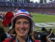 Liz Wiltshire, 2010 Fulbright New Zealand Graduate Student, at a college football game