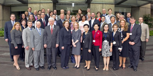 Staff of East Asia and Pacific region Fulbright commissions and US diplomatic posts, the US Department of State and programme partner agencies at the regional meeting in Taiwan in March (photo: Fulbright Taiwan)