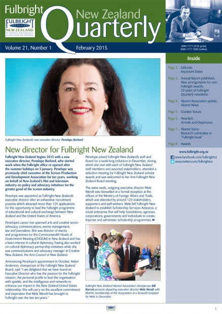 Fulbright New Zealand Quarterly, February 2015