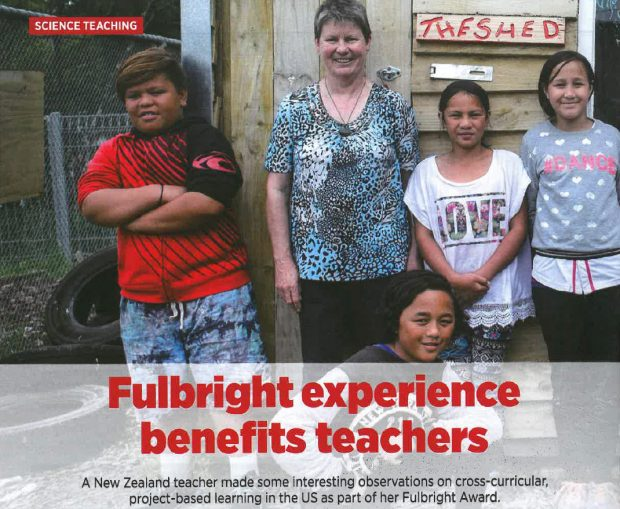 Four children and a teacher stand in front of a wooden shed in the playground. Headline at bottom of picture reads: Fulbright experience benefits teachers.